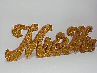 Scritta Mr&Mrs in Polistirolo HD per i migliori eventi, larghezza max 50cm altezza 15/20cm color Oro + Glitter coprente Or...