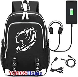 YOYOSHome Luminous Japanese Anime Cosplay Daypack Bookbag Laptop Bag Backpack School Bag with USB Charging Port (Fairy Tail 2)