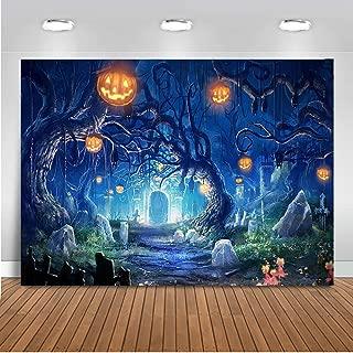 Mocsicka Halloween Party Backdrop Horror Night Spooky Pumpkin Background 7x5ft Vinyl Fall Holiday Halloween Night Party Backdrops
