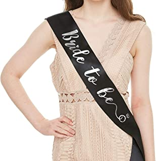 YULIPS Bride to Be Sash - Bachelorette Party Sash Bridal Shower Hen Party Wedding Decorations Party Favors Accessories (Black with Silver Lettering)