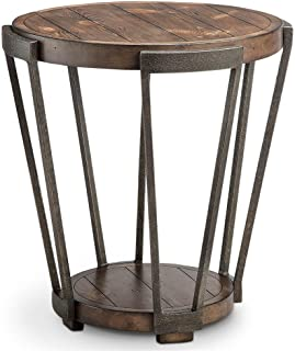 Magnussen Furniture Yukon Round End Table in Distressed Bourbon and Aged Iron Finish