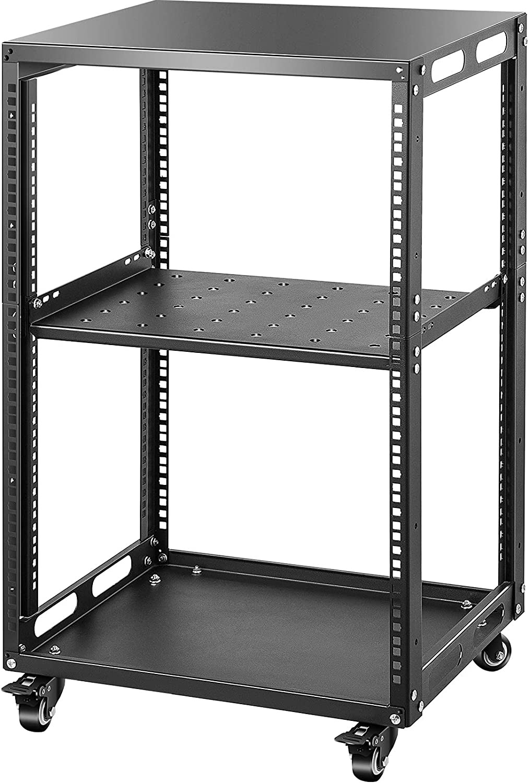 VEVOR Server Rack, 15U 19'' Open Frame Rack, 4-Post IT Server Network Relay Rack, Server/Audio Network Equipment Rack Cold Rolled Steel, Heavy Duty Rack w/Casters