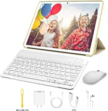 Tablet 10 Inch, Android 9.0 Pie Tablets with Wireless Keyboard Case and Mouse, 3GB RAM 32GB ROM, Quad Core, Google GMS Certified, IPS HD Display, 8MP Dual Camera, Dual SIM, 8000mAh, WiFi (Gold)