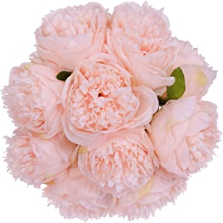 Lvydec Vintage Peony Artificial Flowers - 2 Pack Silk Flowers Bouquet 10 Heads Peony Fake Flowers for Wedding Home Decoration (Pink)
