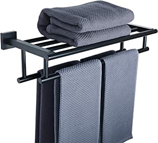 Alise 20-Inch Bathroom Lavatory Towel Rack Towel Shelf with Two Towel Bars Wall Mount Holder,GZ8050-B SUS 304 Stainless St...