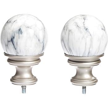 AmazonBasics White Marble Ball Curtain Rod Finials, Set of Two, Nickel