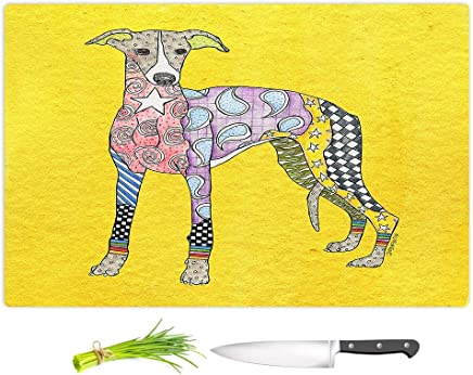 """Small 11\ x 8\ : DiaNoche Designs Kitchen Cutting Boards by Artist Marley Ungaro - Greyhound Yellow, Small 11"""" x 8"""""""