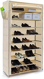 Relaxdays scarpiera Valentin 161 x 88 x 30 cm con rivestimento in stoffa, 10 ripiani scarpiera con chiusura lampo per polvere, supporto per 45 paia di scarpe moderno 161 x 88 x 30 beige, portascarpe