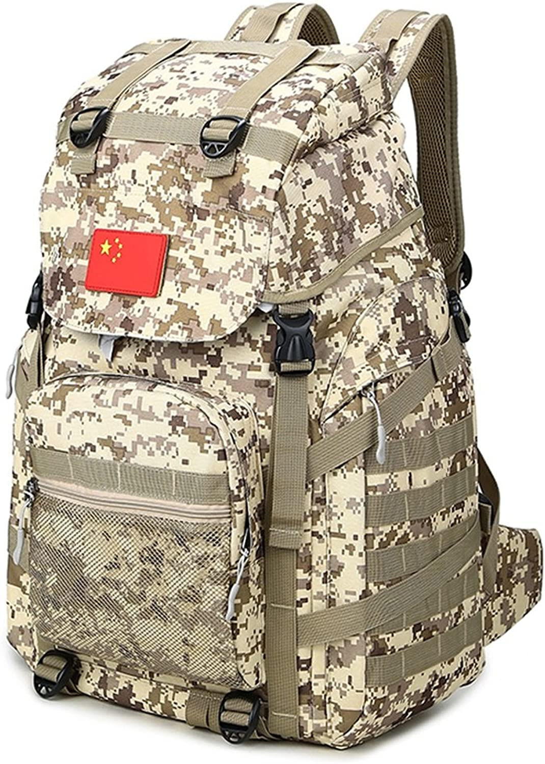 CQ Outdoor Large Capacity Mountaineering Bag Camouflage Backpack Shoulder Bag Men and Women Camouflage Leisure Sports Travel Backpack (color   Desert Camouflage, Size   43  25  63cm)