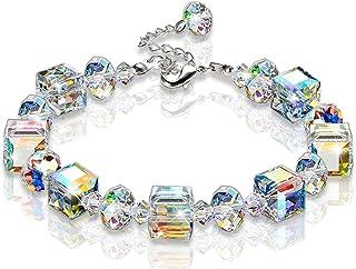 "KesaPlan Crystal Bracelet A Little Romance Stretch Bracelet Crystals from Swarovski Adjustable 7"" - 9"""