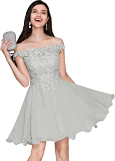 Women's Short Off Shoulder Homecoming Dress Lace Bodice A Line Chiffon Evening Party Gown