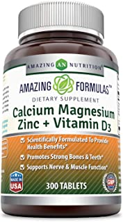 Amazing Formulas Calcium Magnesium Zinc + D3 - 300 Tablets Per Bottle (Calcium 1000mg - Magnesium 400mg - Zinc 25mg Plus V...