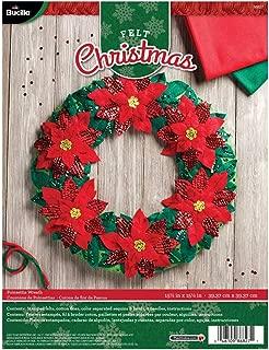 Bucilla 86827 Poinsetta Wreath Wallhanging Kit