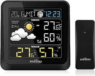 IREGRO Estación meteorológica Inalámbrica con Sensor Relojes Termómetro Higrómetro Digital Temperatura y Humedad con pronó...