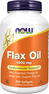 NOW Supplements, Flax Oil 1,000 mg made with Organic Flax Oil, Cardiovascular Support*, 250 Softgels