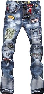 Letuwj Mens Jeans with Patch Strech Biker Jeans Hip hop Style