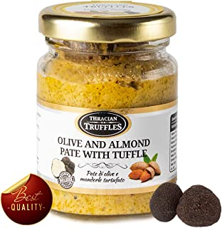 Green Olives and Almond Gourmet Paste with Black Summer Truffle Tuber Aestivum Gourmet Food with Extra Virgin Oil