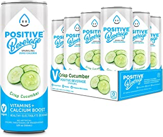 Positive Beverage Sparkling Water Crisp Cucumber - Made with Real Fruit Antioxidant Infused, Healthy Energy Electrolyte Water - Zero Calorie - Calcium Boost - No Sugar - 12 Seltzer Water Cans, 12oz