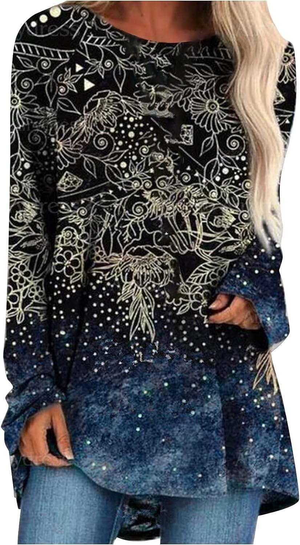 Womens Tops Crewneck Boho Long Sleeve Gradient Spot Floral Print Sweatshirt Casual Pullover Tee Blouse Hoodie