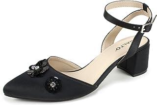 RIALTO Shoes Marjorie Women's Heel, Black/Satin, 7H M