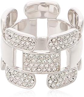 Swarovski Cube Rhodium Plated Crystal Band Ring - Size 17.3 mm