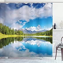 """Lunarable Mountain Shower Curtain Lake and Reflection Scene at The Skirts of Altai Mountain Spring Forest Cloth Fabric Bathroom Decor Set with Hooks 70"""" Long White Green"""