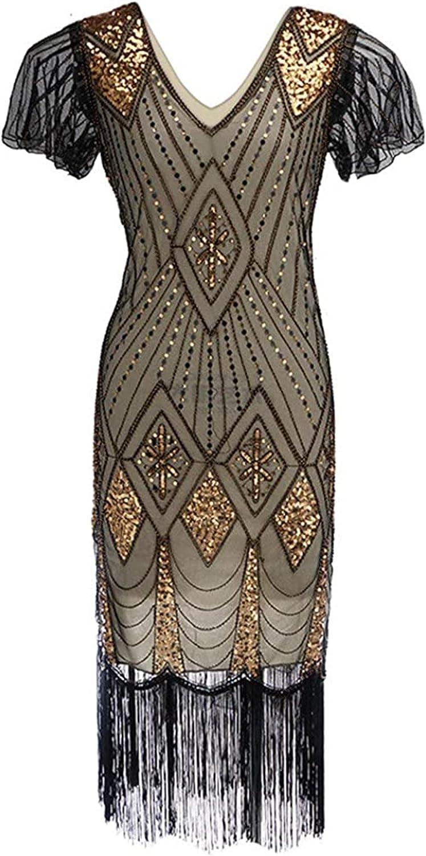 MRENVWS Women's Retro 1920s Sequin Beaded Bling Long Tassel V-Neck Cocktail Party Wrap Flapper Midi Dress