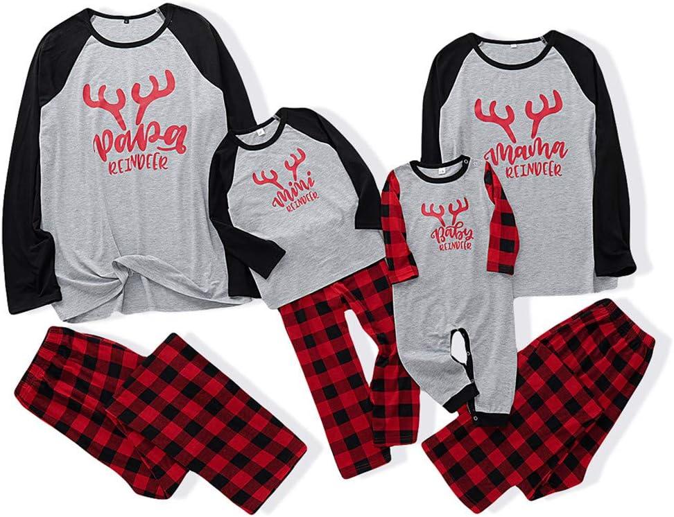 Youmymine Christmas Matching Family Pajamas Sets Xmas PJS Red Plaid T Shirt and Pants 2-Piece Fall Winter Loungewear Sleepwear (Gray, Men-L)