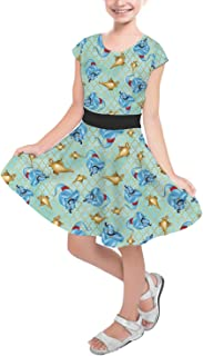 Rainbow Rules Genie and His Lamp Aladdin Disney Inspired Girls Short Sleeve Skater Dress