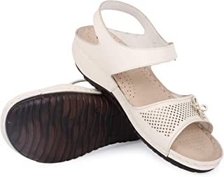 YAHE Women's PU Leather Ortho Doctor Sole Wedge Heel Fashion Sandals Y-510