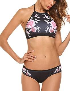 Womens Forest Leaves Printing High Neck Halter Bikini Set Swimsuit XS-XXL
