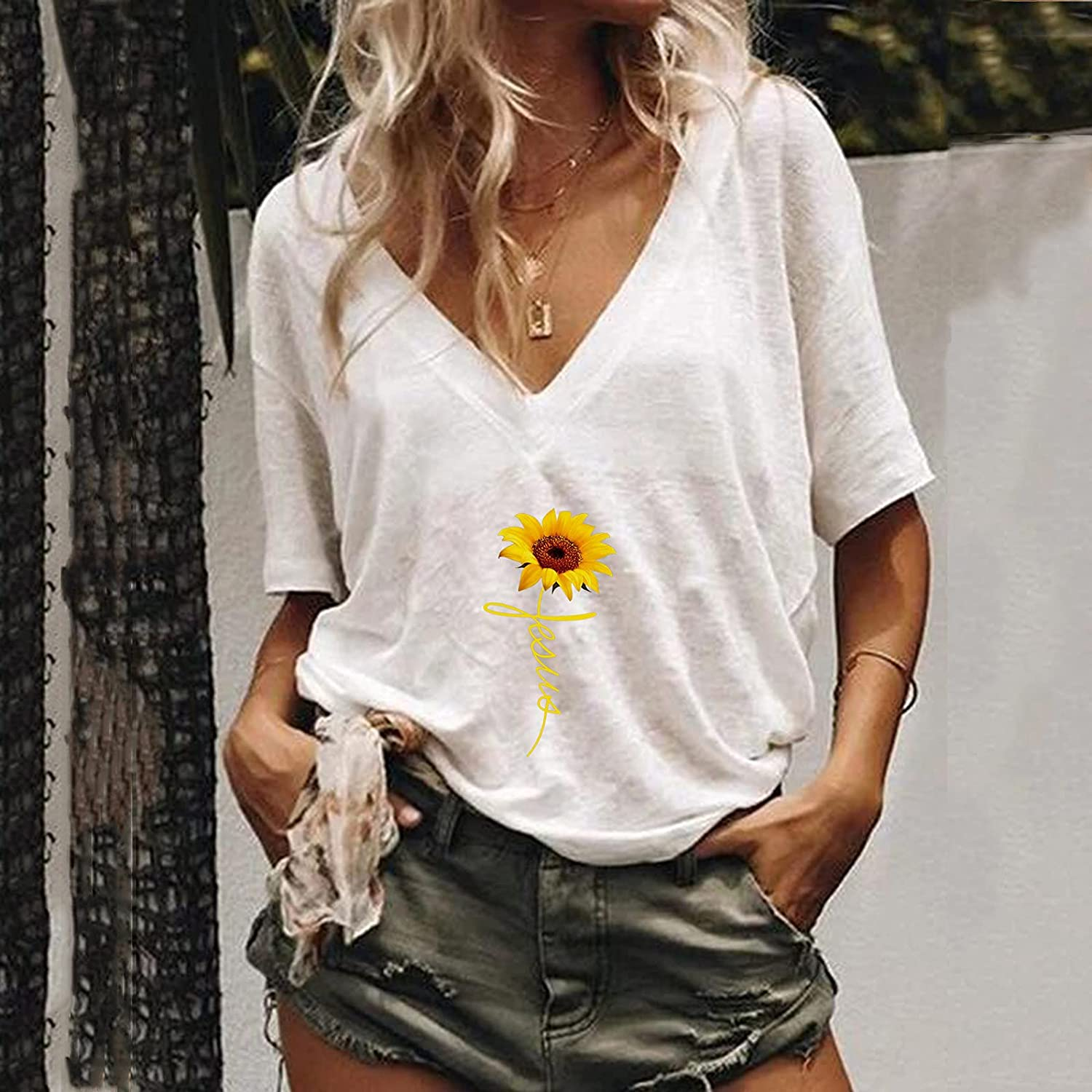 Flurries Plus Size Tops for Women Sleeveless Womens Fashion Top Sexy Vest Soft Shirt V-Neck Summer Casual Tunic