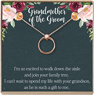 Grandmother of The Groom Gift Necklace: Grandma Wedding, Shower, Rehearsal Dinner, 2 Linked Circles