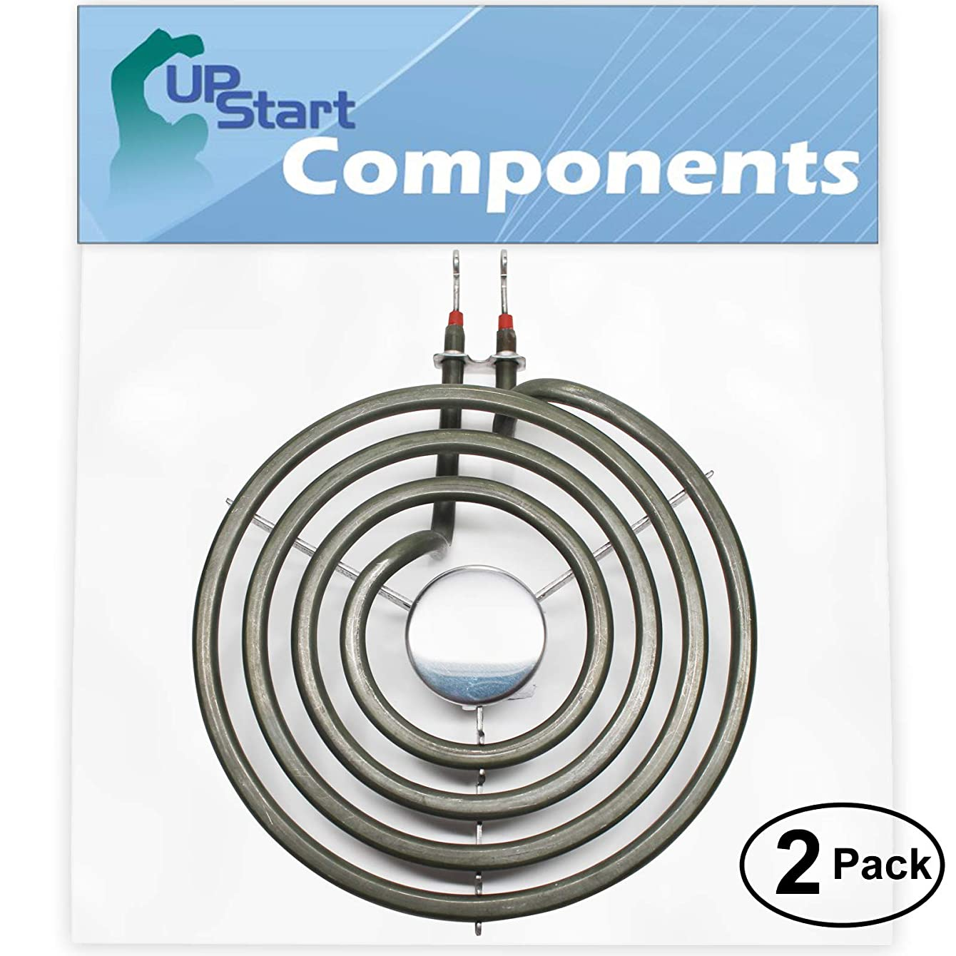2-Pack Replacement Whirlpool RF385PCWW1 6 inch 4 Turns Surface Burner Element - Compatible Whirlpool 660532 Heating Element for Range, Stove & Cooktop