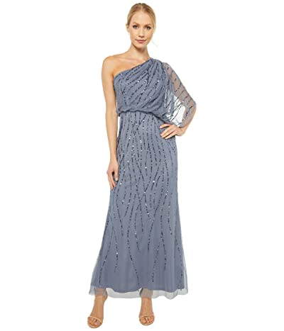 Adrianna Papell Petite One Shoulder Long Beaded Dress (Dusty Blue) Women