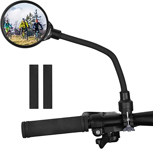 West Biking Bike Mirror Handlebar Mount, Adjustable Rotatable Bicycle Rear View Glass Mirror, Wide Angle Acrylic Convex Safety Mirror for Mountain Road Bike