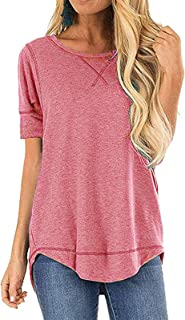 Women's Top Summer Short Sleeve Tops Crew Neck Casual Loose T-Shirts Blouse Tunic S-2XL