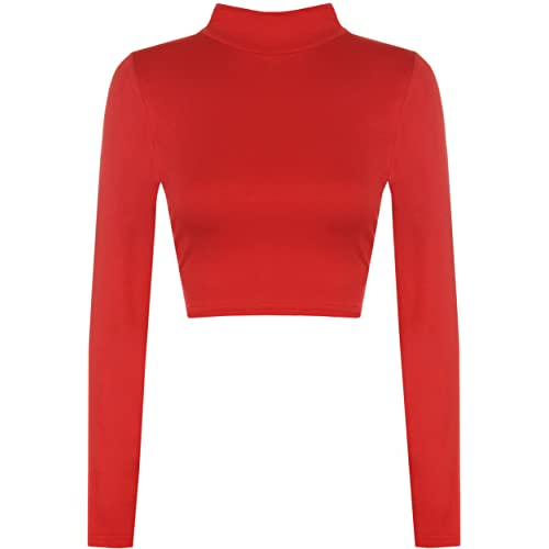 863f3380438 WearAll Womens Turtle Neck Crop Ladies Long Sleeve Plain Polo Short Stretch  Top Sizes 8-