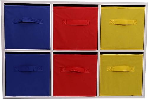 Aufbewahrungsboxen, textiles Material, für Spielzeug Kinderzimmer, mit herausnehmbaren Schubladen, holz, rot, Blau & Gelb, W76.8 x D27.5 x H51.6 cm