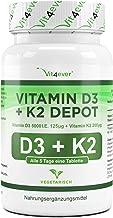 Vit4ever® Vitamin D3 5000 I.E + Vitamin K2 200 mcg Menaquinon MK7 Depot - 180 Tabletten - 99% All-Trans - Laborgeprüft - Alle 5 Tage eine Tablette - Vegetarisch - Hohe Bioverfügbarkeit