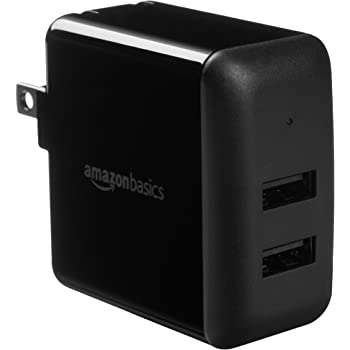 AmazonBasics Dual-Port USB Wall Charger for Phone, iPad, and Tablet, 2.4 Amp, Black