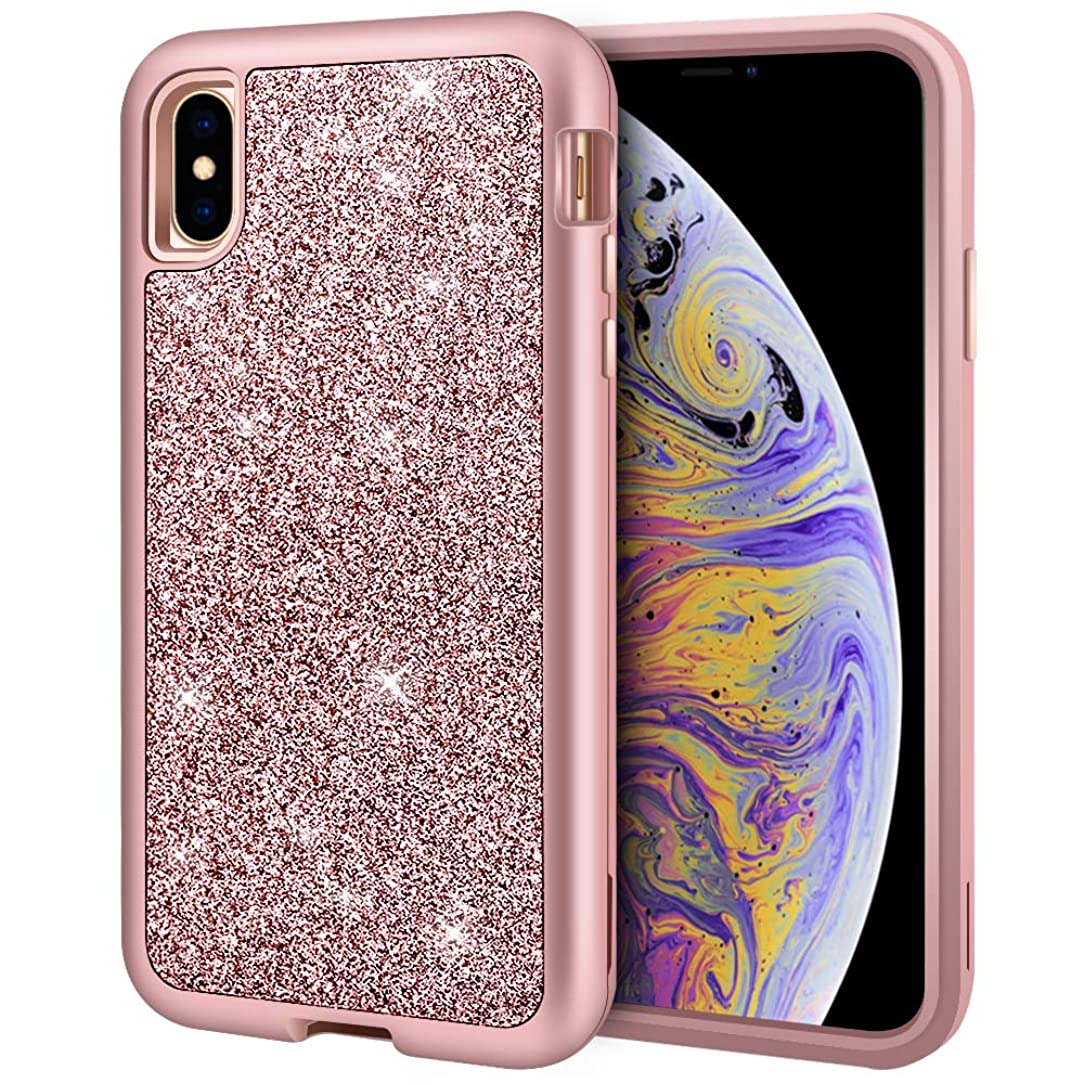 iPhone Xs MAX Case, Anuck 3 in 1 Heavy Duty Defender Protective Case Sparkly Bling Glitter Soft Silicone Hard PC Shell Hybrid Shockproof Armor Full Body Case Cover for iPhone Xs MAX 6.5