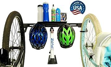 Koova Wall Mount Bike Storage Rack Garage Hanger for 2 Bicycles + Helmets   Fits All Bikes Even Large Cruisers/Big Tire Mountain Bikes   Heavy Duty Powder Coated Steel   Made in USA (2 Bike Rack)