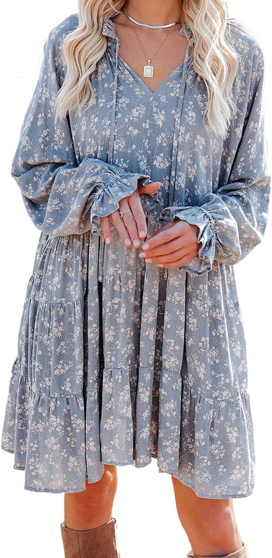 Ecrocoo Womens Sexy V Neck Long Sleeve Boho Floral Print Mini Dress A Line Swing Dresses