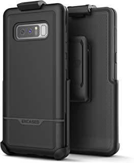 Encased Galaxy Note 8 Rugged Belt Case, Heavy Duty Rebel Armor (Full Body) Cover with Holster Clip for Samsung Note 8 - Military Grade Protection (Black)