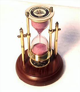 Decor Hunt Swing Sand Timer and Compass on Wooden Base | Hourglass | Height 5 Inches