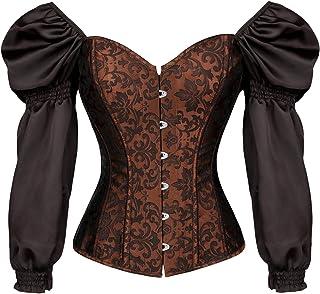 CHARMIAN Women's Renaissance Victorian Brocade Long Sleeves Overbust Corset Top
