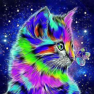 5D DIY Diamond Painting Cute Colorful Cat Wall Art Decor, Crystal Rhinestone Cross Stitch Embroidery Craft Canvas Kits Wit...