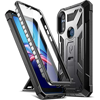 Poetic Spartan Series for Moto E 2020 Case, Full-Body Rugged Dual-Layer Metallic Color Accent with Premium Leather Texture Shockproof Protective Cover with Kickstand, Metallic Gun Metal