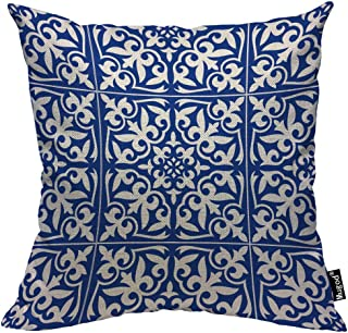 Mugod Moroccan Tile Pillow Cover Ikat Damask Traditional Floral Cobalt Blue and White Decorative Throw Pillow Cases Cotton Linen Indoor Square Cushion Covers 18x18 Inch for Home Sofa Couch